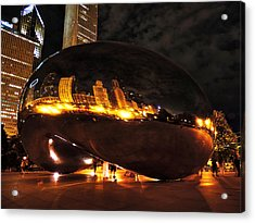 Chicago Night At Cloud Gate 001 Acrylic Print by Lance Vaughn