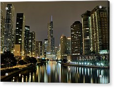 Chicago Night River View Acrylic Print by Frozen in Time Fine Art Photography