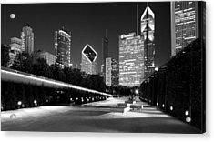 Chicago Night Skyline Black White Acrylic Print