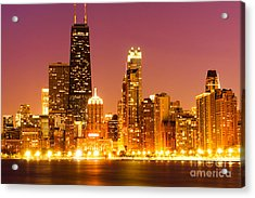 Chicago Night Skyline With John Hancock Building Acrylic Print by Paul Velgos