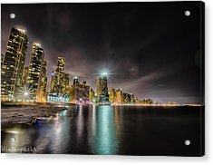 Chicago Nightscape Acrylic Print by Raf Winterpacht
