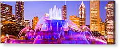 Chicago Panoramic Picture With Buckingham Fountain  Acrylic Print by Paul Velgos