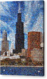 Chicago Photo Mosaic Acrylic Print by Wernher Krutein