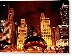 Chicago Photography - The Bean At Night Acrylic Print by Gene Mark