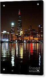 Chicago Photography - Willis Tower At Night Acrylic Print by Gene Mark