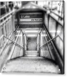 Chicago Lake Cta Red Line Stairs Acrylic Print by Paul Velgos