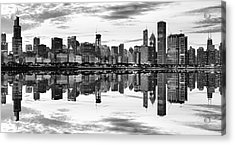 Chicago Reflection Panorama Acrylic Print by Donald Schwartz