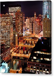 Chicago River At Night Acrylic Print by Thomas Firak