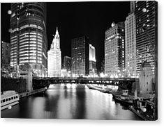 Chicago River Bridge Skyline Black White Acrylic Print