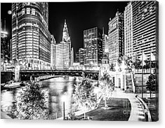 Chicago River Buildings At Night In Black And White Acrylic Print