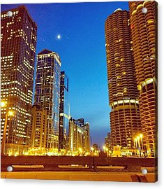 Chicago River Buildings At Night Taken Acrylic Print
