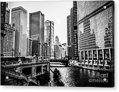Chicago River Buildings In Black And White Acrylic Print by Paul Velgos
