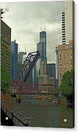 Chicago River Near Kinzie Acrylic Print by Greg Thiemeyer