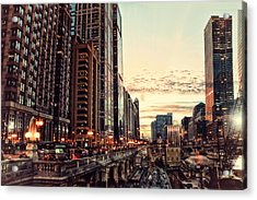 Chicago River November Hdr Acrylic Print by Thomas Woolworth