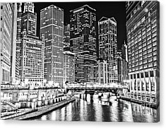 Chicago River Skyline At Night Black And White Picture Acrylic Print by Paul Velgos