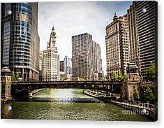 Chicago River Skyline At Wabash Avenue Bridge Acrylic Print