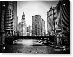 Chicago River Skyline In Black And White Acrylic Print