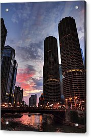 Chicago River Sunset 003 Acrylic Print by Lance Vaughn