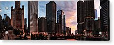 Chicago River Sunset Pano 001 Acrylic Print by Lance Vaughn