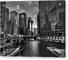 Chicago River - The Mag Mile 001 Bw Acrylic Print by Lance Vaughn