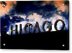 Chicago Sign Sunset Acrylic Print by Kristie  Bonnewell