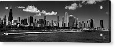 Chicago Skyline 001 Bw Acrylic Print by Lance Vaughn