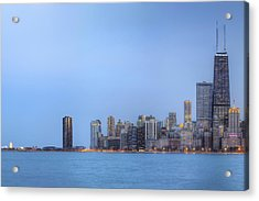 Chicago Skyline And Navy Pier Acrylic Print by Shawn Everhart