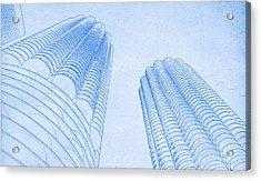 Chicago Skyline Architecture Marina Towers Blueprint Acrylic Print