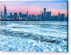 Chicago Skyline At Dawn - Lake Michigan 3-9-14 Acrylic Print by Michael  Bennett