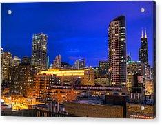 Chicago Skyline At Dusk - Blue Hour Willis Tower Acrylic Print by Michael  Bennett