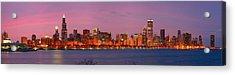 Chicago Skyline At Dusk 2008 Panorama Acrylic Print