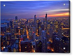 Chicago Skyline At Dusk From John Hancock Signature Lounge Acrylic Print by Jeff at JSJ Photography