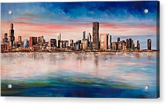 Chicago Skyline At Dusk Acrylic Print by Manit