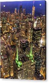 Chicago Skyline At Night 1 Acrylic Print by Michael  Bennett
