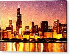 Chicago Skyline At Night Digital Painting Acrylic Print by Paul Velgos