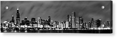 Chicago Skyline At Night In Black And White Acrylic Print by Sebastian Musial