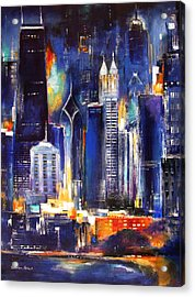 Chicago Skyline At Night Acrylic Print by Kathleen Patrick