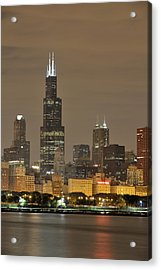 Chicago Skyline At Night Acrylic Print by Sebastian Musial