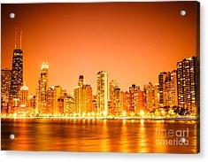 Chicago Skyline At Night With Orange Sky Acrylic Print by Paul Velgos