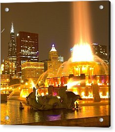 Chicago Skyline At Night With Acrylic Print
