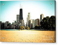 Chicago Skyline At North Avenue Beach Photo Acrylic Print by Paul Velgos