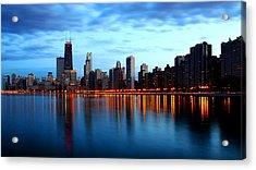 Chicago Skyline Dusk Acrylic Print