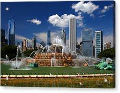 Chicago Skyline Grant Park Fountain Clouds Acrylic Print