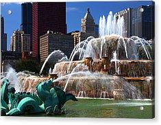 Chicago Skyline Grant Park Fountain Acrylic Print