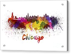Chicago Skyline In Watercolor Acrylic Print by Pablo Romero
