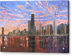 Chicago Skyline - Lake Michigan Acrylic Print by Mike Rabe