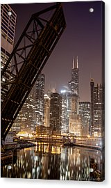 Chicago Skyline Over Chicago River Acrylic Print