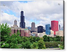 Chicago Skyline Over Park Acrylic Print