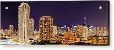 Chicago Skyline Photography October 2014 Acrylic Print by Michael  Bennett