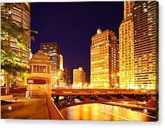 Chicago Skyline River Bridge Night Acrylic Print